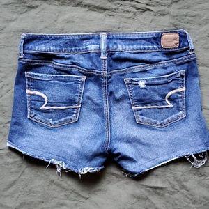 AE Blue Jean Shorts Cutoffs Size 10 Super Stretchy